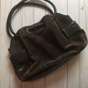 Cole Haan Brown Suede 'Denney' Hobo Bucket Bag EUC